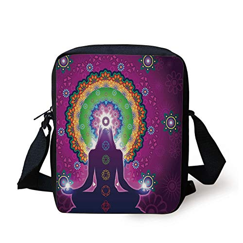 KLYDH Mandala,Meditating Woman with a Macro Mandala Lotus on Her Head Yoga Theme Chakra Image,Purple Green Print Kids Crossbody Messenger Bag Purse -
