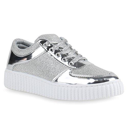 Plateau Sneakers   Damen Sneaker Low   Glitzer Metallic Schuhe   Sportschuhe Strass   Turnschuhe Lack Animal Print   Camouflage Silber Weiss SFl48hM