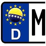 3 x Kennzeichen-Aufkleber Ball BOSNIEN Flagge KFZ Motorrad FanShirts4u BOSNA