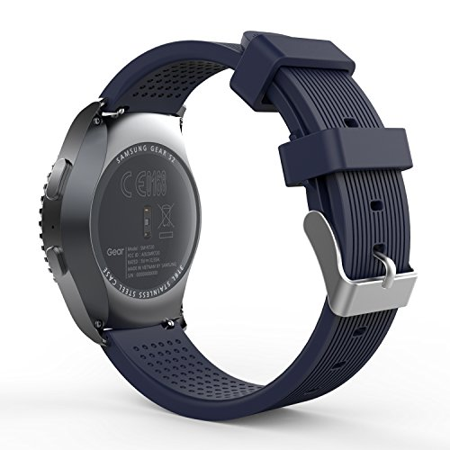 MoKo Armband Kompatibel mit Gear S2 Classic SM-R732 Smart Watch,Silikon Sportarmband Strap Erstatzband Uhrenarmband für Forerunner 245/Samsung Gear S2 Classic/Galaxy Watch 42mm, Mitternachtsblau