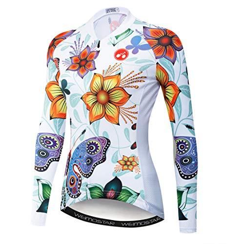 Weimostar MTB Jersey Frauen Radfahren Jersey Langarm Bike Jersey Reißverschluss Mountain Road Kleidung Fahrrad Tops Atmungsaktiv Pro Team Sport Shirts für Frauen Frühling Herbst weiße Blume Größe M -