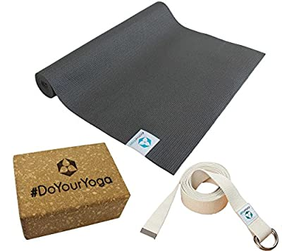 Yogaset : Yogamatte aus PVC 183x61x0,3cm (schwarz) inklusive Baumwoll - Yogagurt und Korkblock