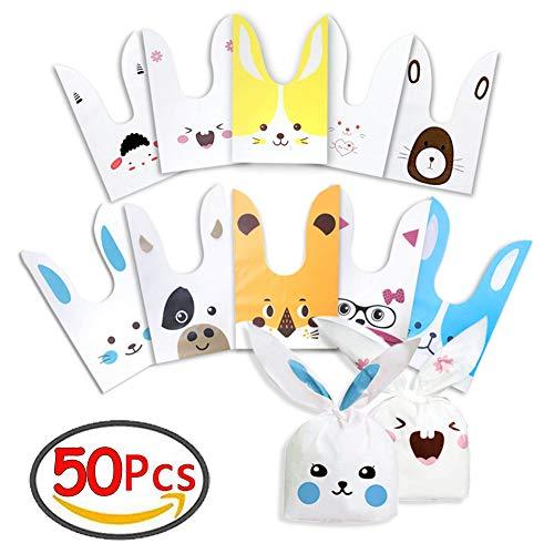 LOCN Sacchetti Compleanno Bambini 50pcs Sacchetto per Caramella Confetti Borsa di Regalo Forma di Coniglio Sacchetti di Biscotto per Natale, Festa, Compleanno, Partito Nozze