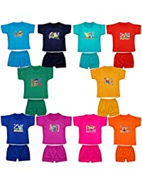 Fashion Biz Baby Boys Half Sleeve Printed T-Shirts and Shorts Cute Collection (Set Of 10Pcs)