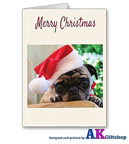 MOPS Weihnachten Karte Süßer Mops Hund in Santa Hat A5Elfenbeinfarben Leinen Karte