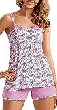 spass42 sexy Damen Pyjama kurz Schlafanzug aus Viskose Träger Top + Shorts rosa Shorty Nachtwäsche Donna Groesse: L