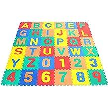kraftz® Niños espuma EVA suave multicolor de alfabeto y números de 36piezas (A-Z y 0–9) de enclavamiento Juego Jigsaw Puzzle actividad alfombra piso azulejos