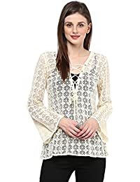Taurus Women's Net Ivory Laceup Top