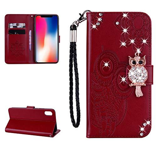 Artfeel Glitzer Diamant Brieftasche Hülle für iPhone XS Max, Geprägt Eule Blume Leder Flip Kartenhalter Hülle,3D Bling Strass Magnetverschluss mit Handschlaufe Stand Handyhülle-Rot Braun - Geprägtes Leder Stamm