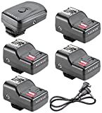 Neewer® 16-Kanal-FM-Radio Wireless Blitz Auslöser Set 1 Sender + Empfänger 4 + 1 Sync-Kabel Kabel für Canon 580EX II 580EX 550EX 540EZ 520EZ 430EX 420EX 430EZ 420EZ 380EX, Nikon SB-800 SB-600 SB-28 SB-27 SB-26 SB-25 SB-24, Olympus FL-50 FL36, Pentax AF-540 FGZ AF-360 FGZ AF-400 FT AF-240 FT, Sigma EF-500 DG Super EF-500 DG ST EF-430 Sunpak Auto 2000DZ 622 Pro 433AF 433d 344D 333D 383 355AFm, Vivitar 285HV und andere Blitzgeräte mit universellem Hot Shoe
