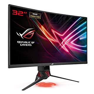 "ASUS ROG Strix XG32VQ 31.5"" 2K Ultra HD VA Brillo Negro, Gris, Rojo Curva Pantalla para PC - Monitor (80 cm (31.5""), 2560 x 1440 Pixeles, LED, 4 ms, 300 CD/m², Negro, Gris, Rojo) (B077831TBZ) 