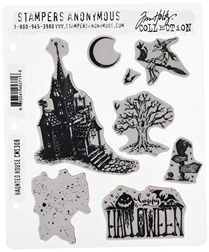 Unbekannt Stempel Anonymous Haunted House selbst Gummi-Stempel-Set, Kunststoff, Mehrfarbig, 24,8x 18,6x 0,8cm (Halloween Tim Holtz)