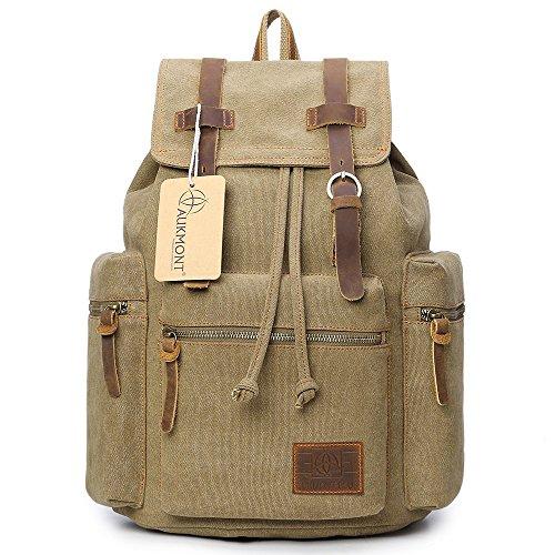 Preisvergleich Produktbild AUKMONT Vintage Rucksack Canvas Tasche Damen Herren Mode Rucksäcke Uni Laptop Backpack 14 Zoll Schulrucksack für Campus Reisen Wandern 220Khaki
