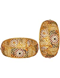 Aabhu Gold Plated Enamel Style Gold Plated Bangle Kada Set Jewellery For Women And Girl - B0785QYKST