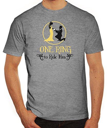Junggesellenabschieds JGA Hochzeit Herren T-Shirt One Ring To Rule Him Graumeliert