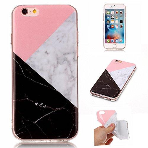 CAOLATOR Hülle Case TPU Zurück Bumper Hülle Case weiche Textur Rundum-schutz Schutzhülse dünne Soft-Cover Marble Textur-Muster für iPhone6/iPhone6S Bunt