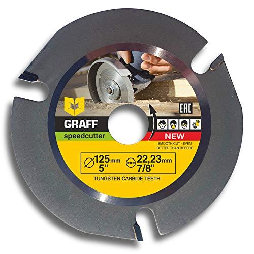 Hartmetall Original GRAFF Speedcutter 125mm / 115mm 3 Zähne TCT Holz Kreissägeblatt für Winkelschleifer, Trennscheibe zum Holzschnitzen, Schneiden, Formen, 22,23 mm, vom Hersteller (125 mm)