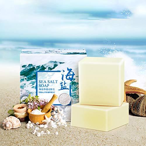 AJUMKER Meersalz Seife Hautpflege Seife Handgemachte Ziegenmilch Reiniger Gesichtsreparatur Pickel Porenentfernung Akne-Behandlung Feuchtigkeitsspendende Gesichtspflege Seife -