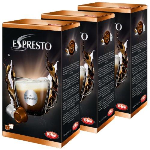 k-fee Espresto cappuccino, espresso, caffè, arabica, set di 3, 3x 16capsule, 24tazze