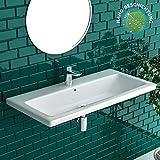 Handwaschbecken aus hochwertiger Sanitärkeramik 90 X 45 cm mit Überlauf inkl. Nano-Beschichtung   WC Waschtisch Waschschale für Gästebad/Badezimmer   Hängewaschbecken   Alpenberger Design