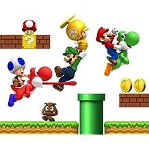 Super Mario Bros reposicionables Niños pegatinas de pared Dormitorio