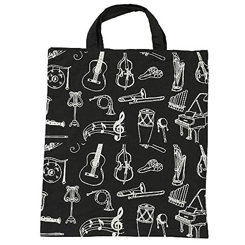Punk Baumwolle Handtasche Frauen Einkaufstaschen in Muisc Notenschlüssel Thema Muster High Notizen und Musical Instruments Designs 36* 41cm Muiscal instruments (High School Musical-pack)