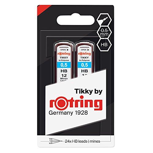 Rotring (1904836) Recambios de minas HB Hi-Polymer para portaminas finos, de 0,50mm, 2 x 12 minas