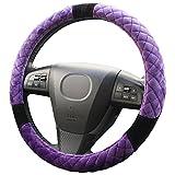 YoRHa Universal Auto Lenkradbezug Haut (schwarz&lila) für Größe 15 '/ 38 cm Plüsch Beflockung Winter halten warm und weich Komfortable Touch Feeling