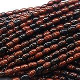"LOVEKUSH 50% Off Gemstone Jewellery 1 Strands Natural Black Red Mahogany Obsidian Rice Shape Loose Small Oval Beads 6x8mm 8x12mm 15"" 03827 Code:- RADE-23498"