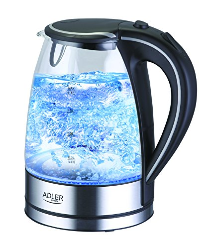 adler AD-1225 Hervidor de Agua Eléctrico de Cristal, 7 Tazas, 2200W, 1,7 litros, Libre de BPA, 2000 W, 1.7 litros, 0 Decibeles, De plástico, Negro, Acero inoxidable, Transparente