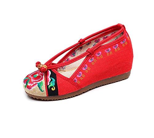 DESY Scarpe ricamate, suola a tendina, stile etnico, scarpe da donna, moda, comodo, casual Red