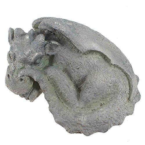Drache liegend grau ca 34x13x25cm Magnesia Figur Garten Deko Stein Skulptur