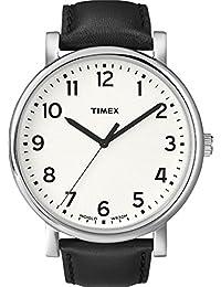 Timex Originals - Reloj análogico de cuarzo con correa de cuero unisex, color negro/blanco