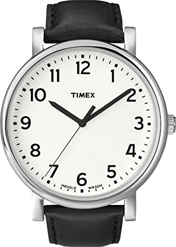 timex-unisex-t2n338-heritage-easy-reader-quartz-analogique-boitier-en-metal-blanc-noir-cuir