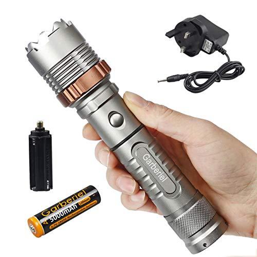 Garberiel LED-Taschenlampe, 4000 Lumen, wiederaufladbar, wasserdicht, mit Akku und UK-Ladegerät