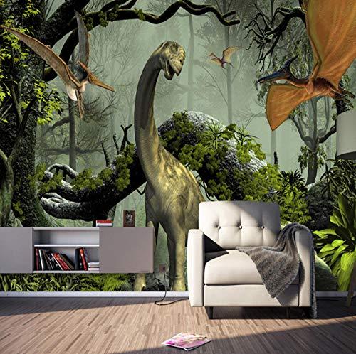 Fototapete Dinosaurier-Thema Moderne Wanddeko Design Tapete Wandtapete Wand Dekoratio TV Hintergrundwand 300x210 cm (Wwe-uhr)
