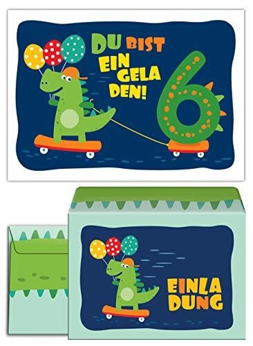 (12 Einladungskarten incl. 12 Umschläge zum 6. Kindergeburtstag Dinosaurier für Jungen Jungs Einladungen sechste Geburtstag)
