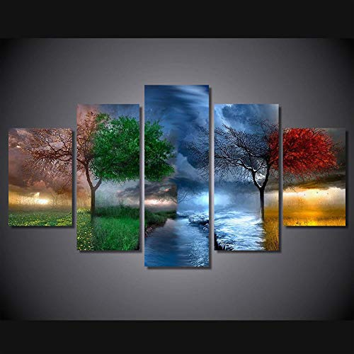 EUFJHS 5-Teilige Leinwand Auf Leinwand Gedruckt Drucke Art Poster Wall Hd Printed Canvas Four Seasons Trees Landscape Living Room Pictures Home Decor Painting-A Rahmenlos (Die Friends-halloween Tree)