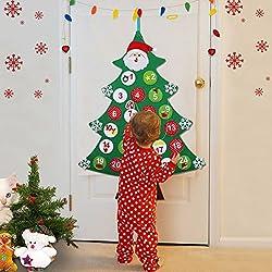 Aparty4u - Calendario de Adviento de Fieltro con Bolsillos Grandes, diseño de árbol de Navidad, para niños, Navidad, Regalos, Puertas, Decoraciones para Colgar en la Pared, 61 x 86,36 cm