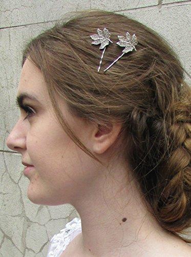 2 x Strass Argent Feuille Barrettes Épingles mariée vintage deco 4 comme * * * * * * * * exclusivement vendu par – Beauté * * * * * * * *
