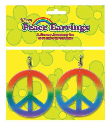 Peace Sign Rainbow Earrings 70S Hippy Hippie Chick Austin Powers Fancy Dress by Home & Leisure (Dress Hippy Fancy Chick)