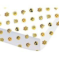 CTI - Sábana bajera 044713 «Emoji Emotions» para niños fabricada en poliéster y algodón de color blanco - 90 x 190 cm. o 140 x 190 cm.
