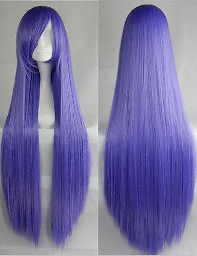 Mode Perücken WIGSTYLE heißer Verkauf 40 Zoll Hochtemperaturfaser lange gerade Lavendel Cosplay Perücke Seite bang