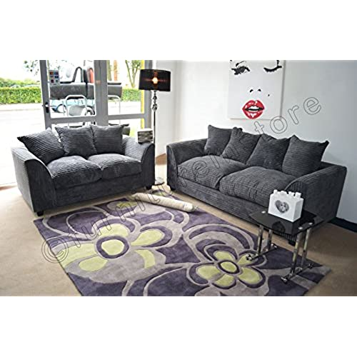 living room settee. Dylan Byron Grey Fabric Jumbo Cord Sofa Settee Couch 3 2 Seater Furniture Living Room  Amazon co uk