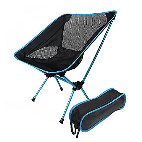 BlackHumor Portable Folding Chair, Lightweight Backpacking Foldable Beach Recliner with Carrying Bag, Suitable for Indoor/ Outdoor/Camping/Hiking/Traveling/Fishing/Surfing/Picnic etc. (Light Blue)