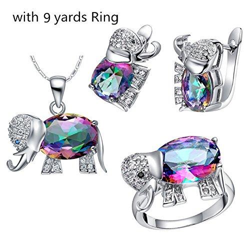 CS priorité Jewelry Set Collier avec pendentif boucles d'oreilles Bague avec pierre pour femme Mesdames with 9 yards Ring