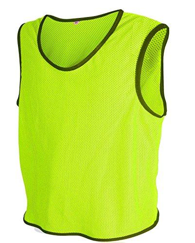 10x-Fuball-Leibchen-Trainingsleibchen-Markierungshemd-Fuballleibchen-Trikots-Neon-Geld-ML