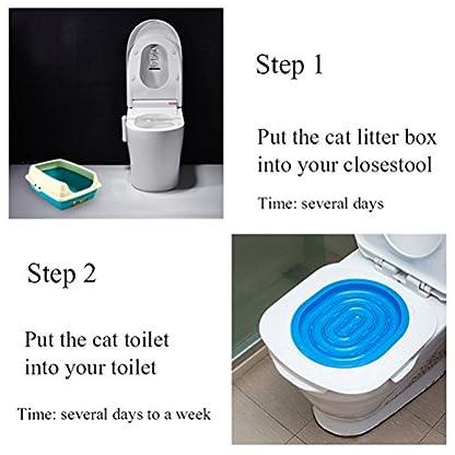 UEETEK Pet Toilet Training Seat for Cats Potty Training Tray Cats Kit (Blue) 2