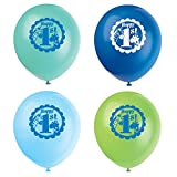 """Unique Party 12"""" Latex Blue Safari 1st Birthday Balloons, Pack of 8"""