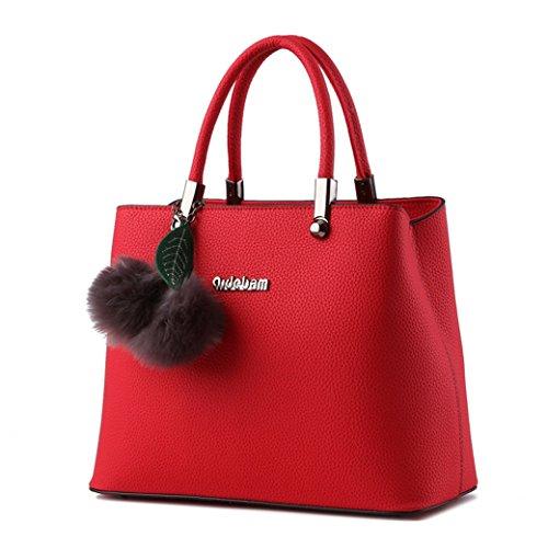 Fashion Damen Mädchen lässig PU Leder Umhängetasche Handtasche Schultertasche Tote ideal für Büro Verreisen Shoppen Pink Weinrot